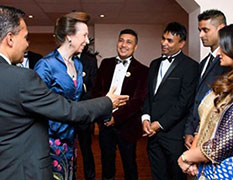 Titu receives the Award from Princess Anne for Best Indian Restaurant in the North-East at the International Indian Chef of the Year awards